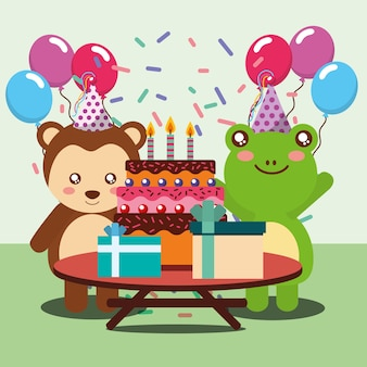 Carta di felice festa di compleanno simpatici animali rana e scimmia