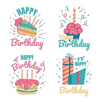 Elemento di design della stampa dell'etichetta della celebrazione dell'evento della festa di buon compleanno