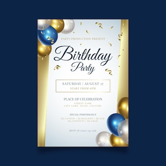 Modello di manifesto festa di buon compleanno