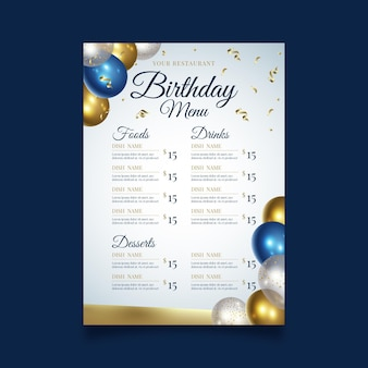 Modello di menu ristorante festa di buon compleanno