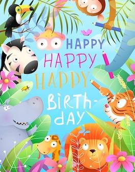 Festa di buon compleanno con animali della giungla che celebra il compleanno della matita scrivendo un biglietto di auguri per gli animali