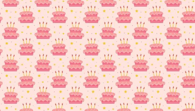 Buon compleanno modello banner sfondo carino gustosa torta dolce con candele decorazione natalizia