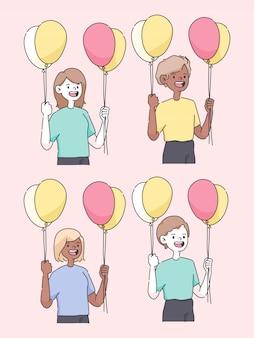 Buon compleanno persone in possesso di palloncino carino persone illustrazione