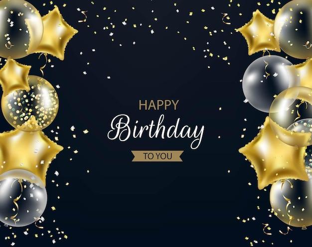 Cartolina di buon compleanno con palloncini