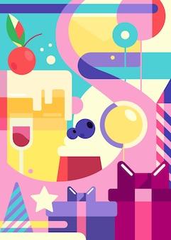 Poster di buon compleanno in stile piatto. disegno astratto della cartolina di festa.