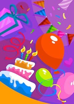 Poster di buon compleanno con torta e decorazioni. cartolina di vacanza in stile cartone animato.