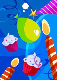 Poster di buon compleanno con torte e candele. cartolina di vacanza in stile cartone animato.