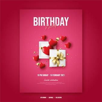 Manifesto di buon compleanno con confezione regalo aperta con palloncini rossi d'amore.