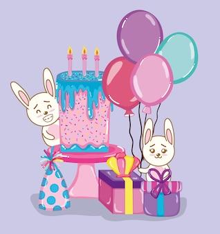 Cartoni animati di conigli di buon compleanno