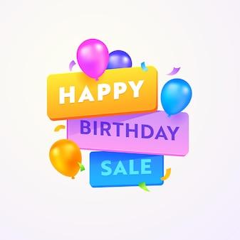 Banner pubblicitario di vendita di buon compleanno con tipografia e palloncini colorati su sfondo bianco
