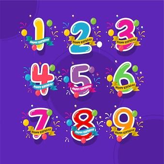 Buon compleanno, impostare il modello di celebrazioni del logo dell'anniversario.