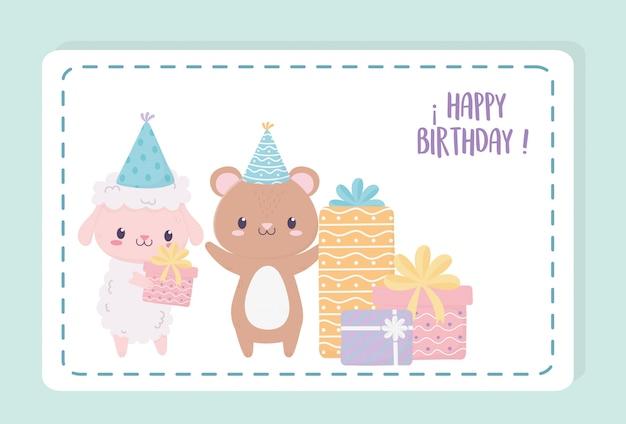 Orso di pecora di buon compleanno con regali e cappelli da festa celebrazione decorazione carta