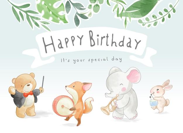 Slogan di buon compleanno con simpatici animali parata musicale illustrazione