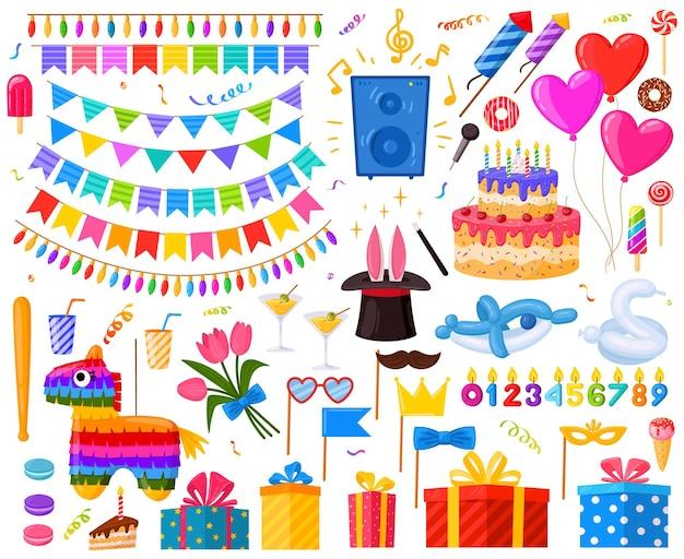 Regali e dolci del fumetto della festa a sorpresa di buon compleanno. torta di compleanno, regali e set di illustrazioni vettoriali pinata. simboli di celebrazione della festa di compleanno