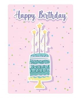 Buon compleanno, torta dolce con stelle celebrazione celebrazione fumetto punteggiato