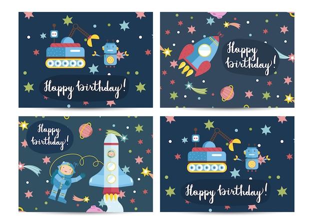 Cartolina d'auguri del fumetto di vettore di buon compleanno