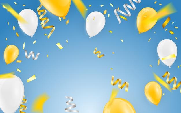 Buon compleanno vettore celebration party banner coriandoli di lamina d'oro e palloncini oro bianco e glitter.
