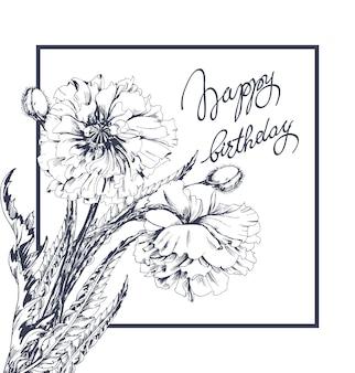 Buon compleanno! carta di congratulazioni di vettore con i fiori del papavero vettore del modello.