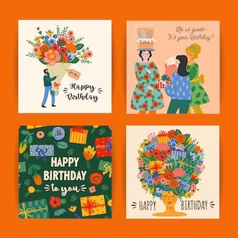 Buon compleanno. insieme di vettore delle illustrazioni carine.