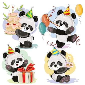 Il vettore di buon compleanno ha messo con gli orsi di panda del bambino
