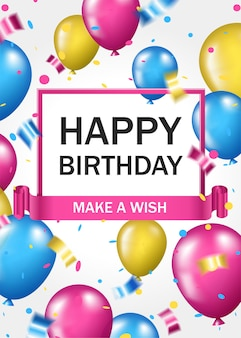 Poster verticale di buon compleanno con palloncini colorati e coriandoli