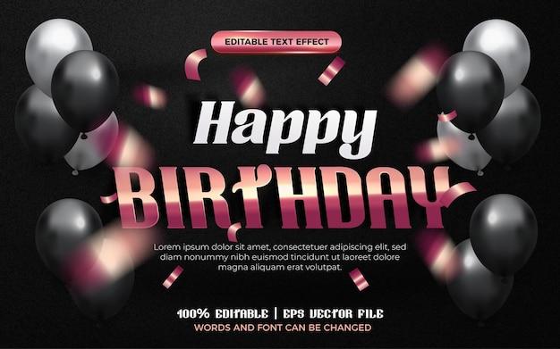 Buon compleanno oro bianco rosa carta origami stile effetto modificabile. sfondo nero con palloncini colorati
