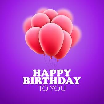 Buon compleanno con palloncini. celebrazione festa di decorazione. design festivo.