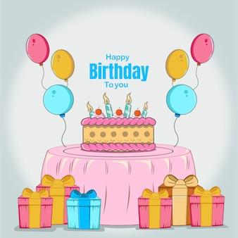 Buon compleanno con, torta compleanno, candela, regalo, palloncino colorato, celebrazione design piatto