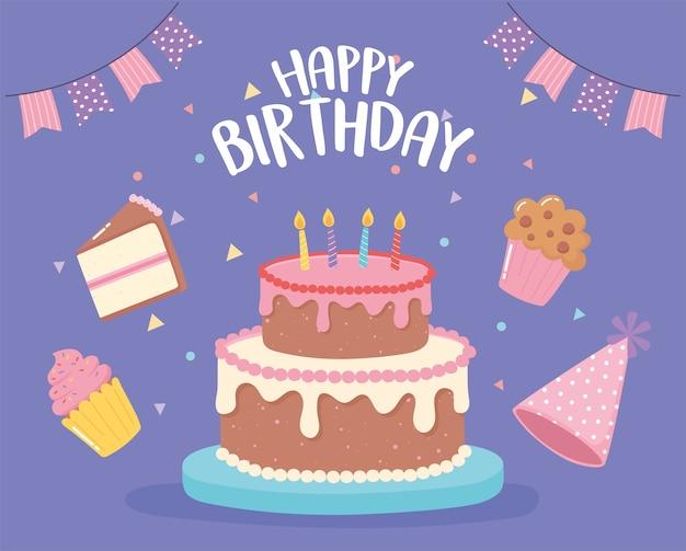 Buon compleanno, con cappelli da torta e illustrazione di cartone animato festa cupcake