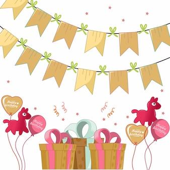 Buon compleanno con regalo, gentile palloncino e decorazione bandiera