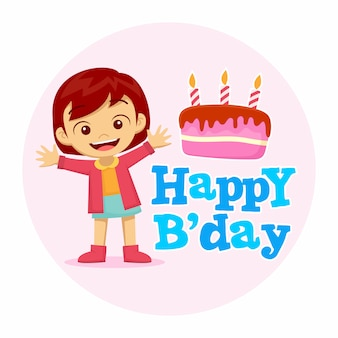 Buon compleanno con ragazza felice e illustrazione piatta torta