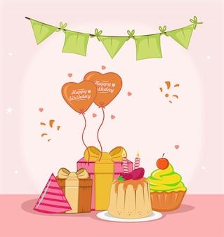 Buon compleanno con design piatto di budino, regalo, palloncino e bandiera