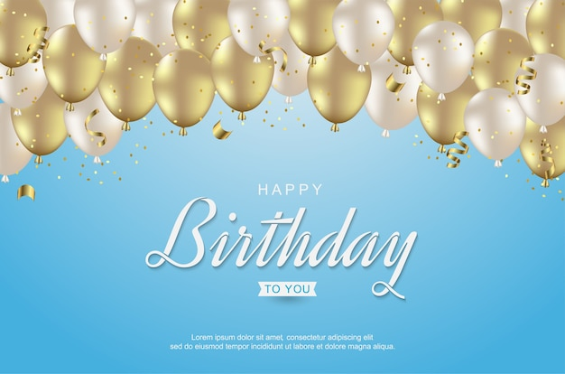 Buon compleanno con palloncini d'oro realistici e nastro sull'azzurro
