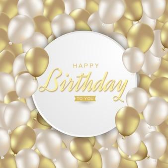 Buon compleanno con palloncini d'oro realistici
