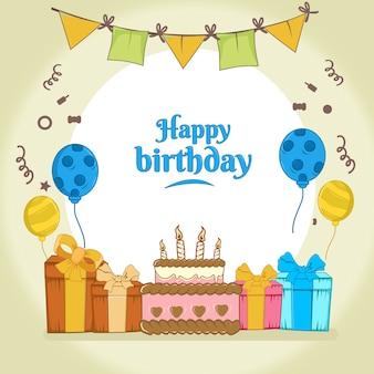 Buon compleanno con torta crostata, regalo, motivo a palloncino, design piatto con decorazione bandiera