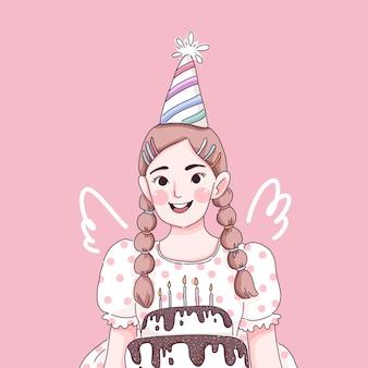 Buon compleanno. ragazza carina .
