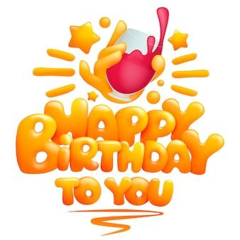 Buon compleanno a te modello di biglietto di auguri con mano emoji tenendo un bicchiere di vino. stile cartoon 3d