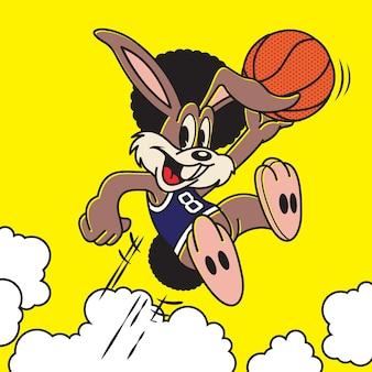 Felice coniglietto nero giocatore di basket che salta sfondo giallo
