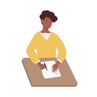 La donna di colore felice scrive il documento cartaceo che si siede sull'illustrazione grafica vettoriale della tavola. la femmina positiva della pelle scura riempie la penna di tenuta del questionario isolata su fondo bianco. lettera di scrittura della ragazza.