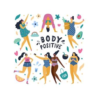 Ragazze felici con il corpo positivo in design piatto
