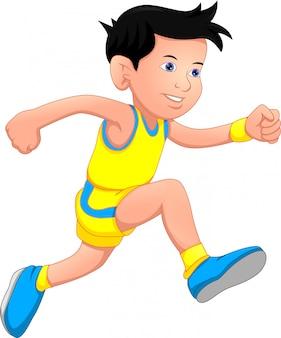 Il ragazzo felice sta correndo