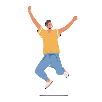 Felice ragazzo salta con le braccia alzate, personaggio maschile che prova emozioni positive, gioisci, vittoria o successo. adolescente buon umore ridere isolati su sfondo bianco. cartoon persone illustrazione vettoriale