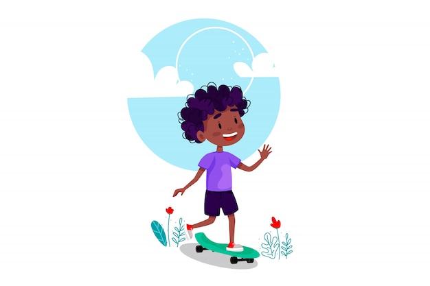 Pattino felice di guida del ragazzo fuori. vacanze estive attività all'aperto per bambini. illustrazione su sfondo bianco isolato.