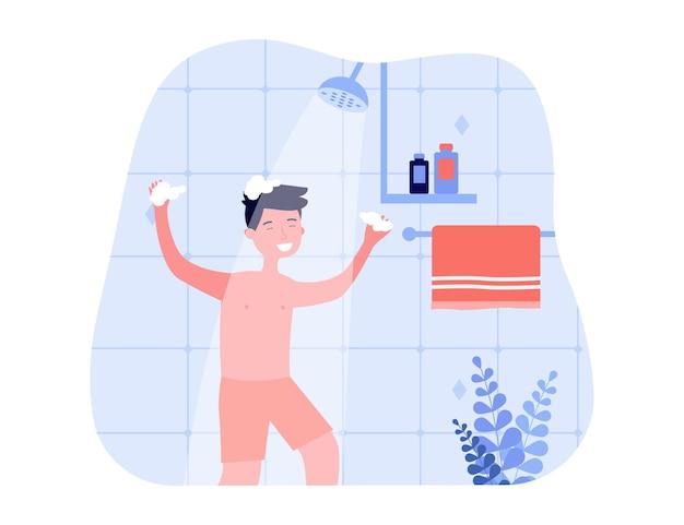 Ragazzo felice in pantaloncini che lava i capelli sotto la doccia. bambino con le mani insaponate facendo uso di shampoo nell'illustrazione piana di vettore del bagno. igiene, concetto di stile di vita per banner, design di siti web o pagine web di destinazione