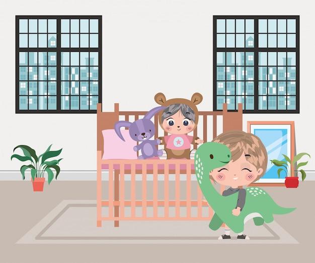 Illustrazione di cartoni animati di ragazzi felici