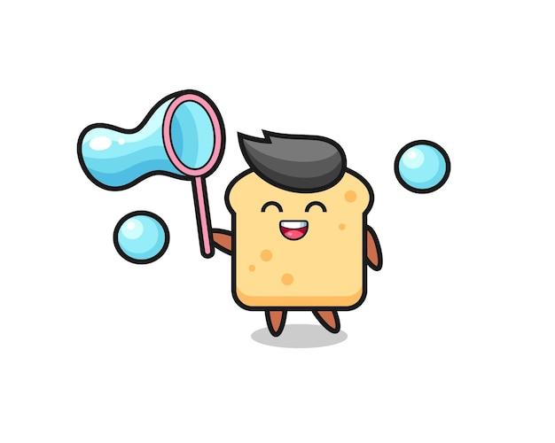 Cartone animato di pane felice che gioca a bolle di sapone, design in stile carino per maglietta, adesivo, elemento logo