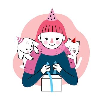 Buon compleanno, donna e cane e gatto e presente mano disegnare cartone animato carino.
