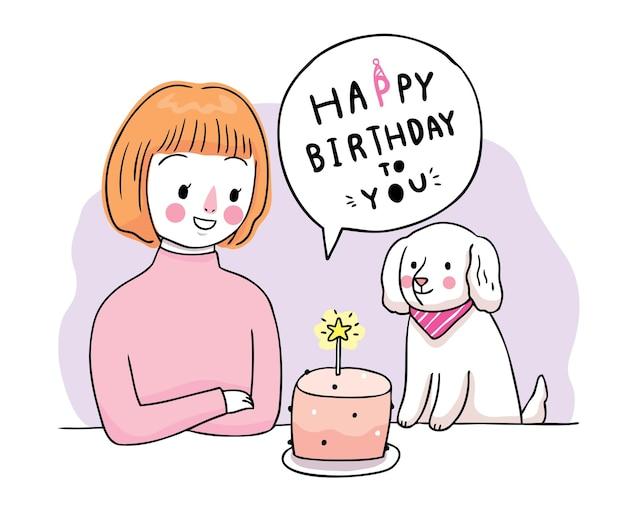 Buon compleanno, donna e cane e torta dolce disegnare a mano cartone animato carino.