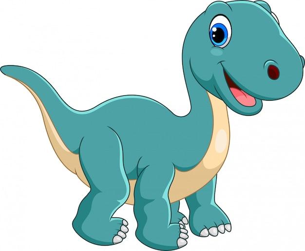 Cartone animato felice brontosauro