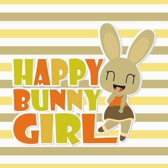 Fondo felice della maglietta del bambino di cartoonfor della coniglietta della ragazza